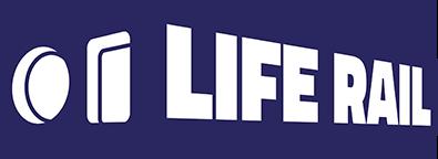 Navy blue life rail system logo